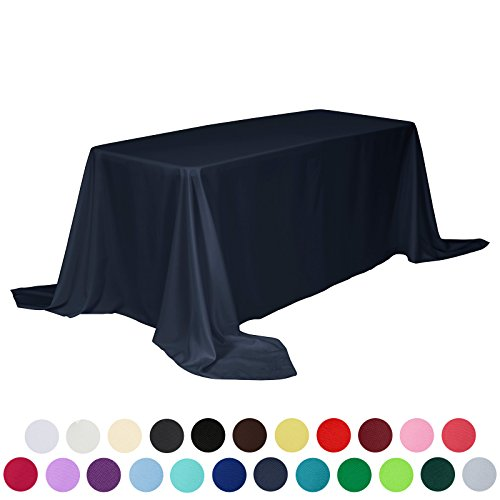 VEEYOO 90 x 132 inch Rectangular Solid Polyester Tablecloth for Wedding Restaurant Party , Navy Blue