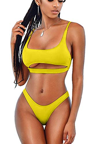 LEISUP Woman's Hollow Out Bandage Low Back High Leg Sports Bikini Swimsuit,M Yellow