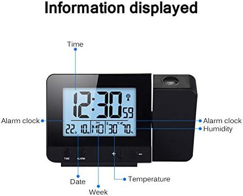Konesky Reloj de proyección Digital, atenuador Reloj Despertador Hora Reloj Protector de Temperatura con función de repetición Reloj de Humedad ...