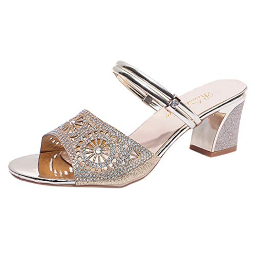 ◕‿◕ Watere◕‿◕ Women's Bohemia Style Crystal Peep Toe Slipper Sandals Casual Shoes Sexy Summer Fish Mouth Slippers Gold (Ralph Lauren Croc)