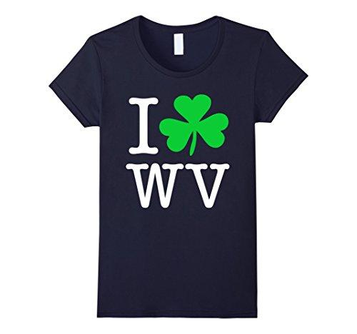 Women's I Love Shamrock WV West Virginia Funny T-Shirt XL Navy