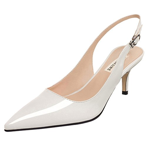 June in Love Women's Kitten Heels Pumps Pointy Toe Slingback Shoes for Usual Daily Wear White 8 US