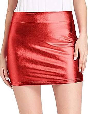 Kate Kasin Damen Shiny Metallic Rock Stretchy Hips Wrapped Minirock Girl Karneval Rock ZZKK858