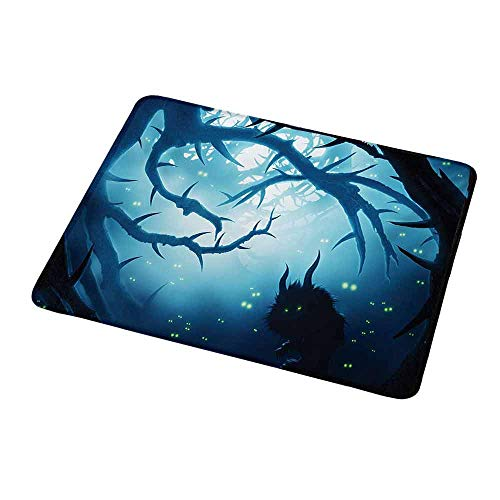 Anti-Slip Gaming Mouse Mat/Pad Mystic,Animal with Burning Eyes in The Dark Forest at Night Horror Halloween Illustration,Navy White,Gaming Non-Slip Rubber Large Mousepad 9.8