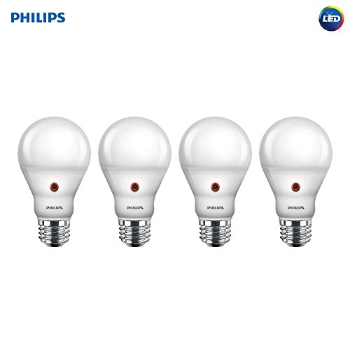 Philips LED 466565 BC8A19/AMB/827/ND D2D 120V 4/1 60 Watt Equivalent Soft White Dusk-Till-Dawn Indoor/Outdoor A19 LED Light Bulb, 4 Pack,
