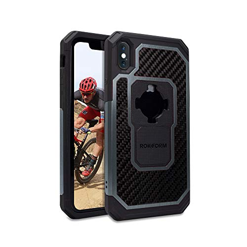 Rokform Fuzion Pro Series [iPhone X/XS] Protective Aluminum & Carbon Fiber Magnetic case with Twist Lock Insert Included (Gun Metal)