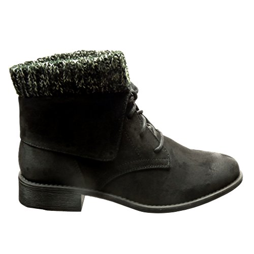 Block 3 Booty Reversible Shoes Women's High Fashion Ankle Boots cm cm Angkorly Black Fur Heel zHgqZP