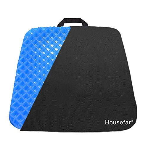 Gel Seat Cushion – Cool and Ventilated – Non-Slip , Seat Cushion – Relieves Sciatica and Coccyx Pain Housefar
