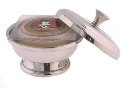 Colonel Conk Model 147 Pewter Shave Bowl with Handled Lid and Soap