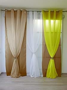Mlance - Cortina doble de anillas (140 x 250 cm), color blanco