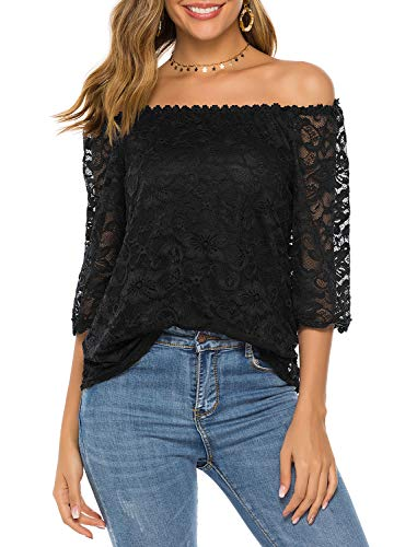 Sarin Mathews Womens Lace Off The Shoulder Tops 3/4 Sleeve Casual Summer Loose Blouses Shirts Black M