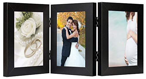 (Golden State Art, Triple Hinged Table Desk Top Picture Photo Frame for 4x6 Photo, 3 Vertical Openings, with Real Glass (Black, 4x6 Triple Hinged)