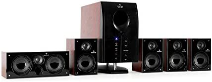Auna Areal Energetic 525, Dwelling Cinema System, 5.1 Encompass Sound System, 95W RMS complete, Bass Reflex Subwoofer, Standby perform, 5 Satellite tv for pc Audio system, Bluetooth, USB Port, SD, AUX, Distant Management, Walnut