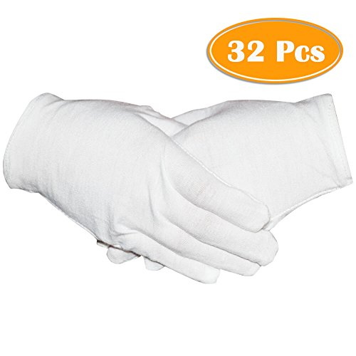 16 Pairs White Cotton Gloves 8