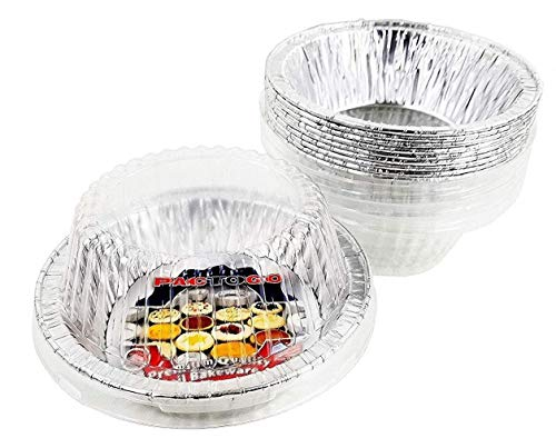 PACTOGO 5 3/4 Aluminum Foil Meat Pot Pie Pan w/Clear Dome Lid Disposable 12 oz. Cooking Baking Tin - Heavy Duty Made in USA (Pack of 50 Sets)