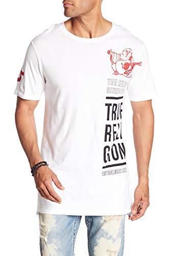 True Religion Mens Long Buddha Elongated Crew T-Shirt-White
