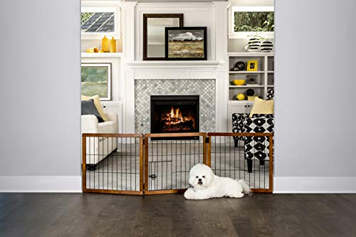 (Carlson Pet Products Design Paw 62-Inch Super Wide 3 Panel Premium Wooden Pet Gate)