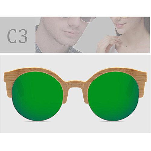 Gafas De Madera De De Medias Polarizadas De Madera Sol UV400 Gafas Caja con ANLW De Mujer Madera Bambú Gafas De Gafas Greentablets Redondas Unisex Retro dIqUw5B