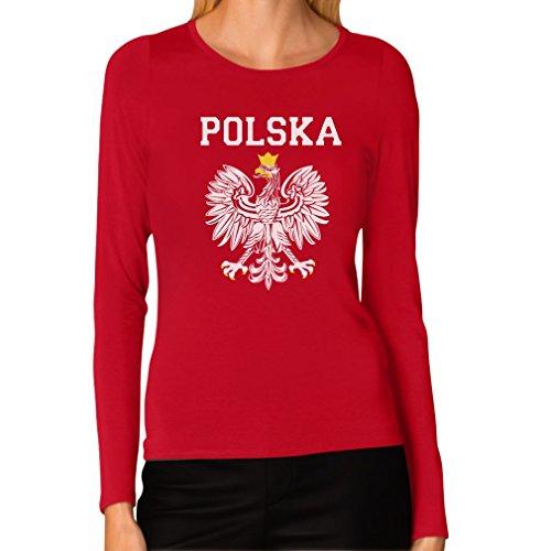 (Tstars Women's - Polska Est Soccer Team Long Sleeve T-Shirt Medium Red)