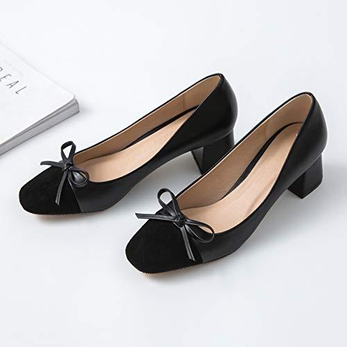 Fresh Grueso Los Yukun Black Women's Shoes Desnudo Small tacón Square de Work Tacones Zapatos Altos Color Black Individuales Head zapatos alto En Autumn con Bow RZwBZrT48q