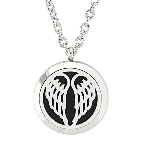 Jenia Round Pendant Stainless Steel Essential Oil Diffuser Magnetic Aromatherapy Locket Necklace