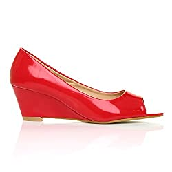 HONEY Women's Patent PU Leather Wedge Mid Heel Red Shoes Size 6