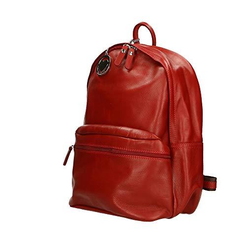 30x39x14 Bolso En In Italy Chicca Borse Piel Cm Genuina Mochila Made Rojo HZppzfWn