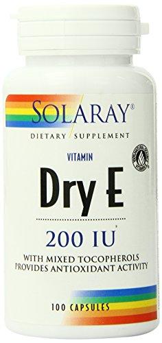 Solaray Dry Vitamin E-200 Capsules, 100 Count