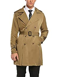 Men's Double Breasted Trench Coat Slim Fit Overcoat Long Jacket