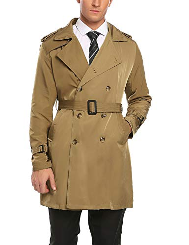 COOFANDY Men's Casual Jacket Overcoat Cardigan Double Breasted Trench Coats