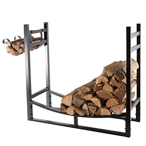 PHI VILLA Heavy Duty Firewood Racks 44 Inch Indoor/Outdoor Log Rack with Kindling Holder, 31 Inch Tall, Black