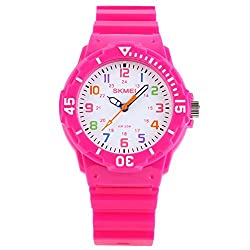 SKMEI Kid's Candy Color Cute Design Rubber Band Quartz Wristwatch - Rose Red
