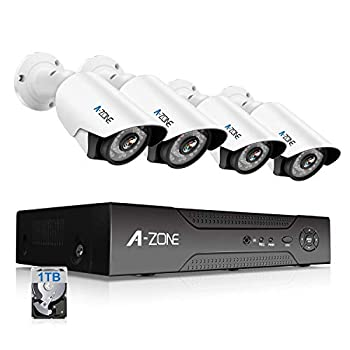 Image of Surveillance DVR Kits A-ZONE 1080P Security Camera System 8 Channel DVR 1080P AHD Home Surveillance System W/ 4X HD 1080P Waterproof Night Vision Bullet Camera, Including 1TB HDD,Customizable Motion Detection