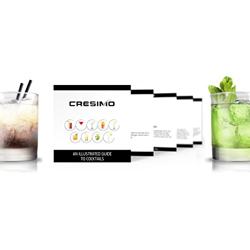 24 Ounce Cocktail Shaker Bar Set Accessories - Martini Kit with Measuring Jigger and Mixing Spoon plus Drink Recipes Booklet - Stainless Steel Tool Built-in Bartender Strainer by Cresimo (Image #2)