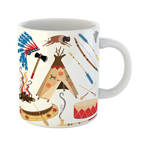 Emvency Funny Coffee Mug Cowboy American Indian Clipart and White Teepee Arrowhead Drum Arrow Bow Canoe 11 Oz Ceramic Coffee Mug Tea Cup Best Gift Or Souvenir
