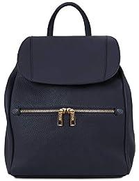 TLBag Soft leather backpack for women Dark Blue