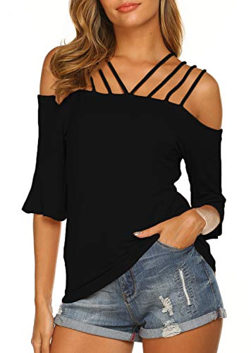 Newchoice Off Shoulder Tops for Women Summer Cute Ruffle Bell Sleeves Loose Shirts (XL,Black)