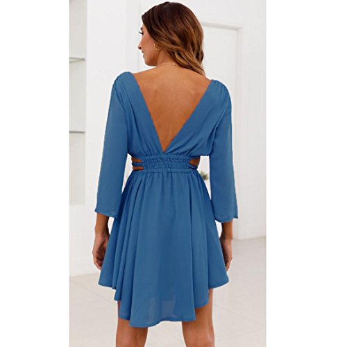 Longues Robe Robe Sexy XL Holiday Bleu Nu Chic Vintage Bleu Manches 36 Dos S Mini Robe Solid Femme Beach Ete Summer Dames de Guesspower Soire 42 TwdqzT