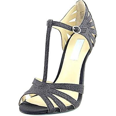 Betsey Johnson Womens Tee Open Toe T-Strap D-Orsay, Black Glitter, Size 9.0