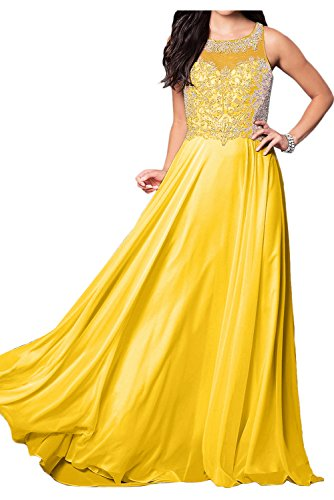 Sunvary Charming Chiffon Prom Dress Jewel Floor Length Party Dress Gown Size 14- Gold Yellow