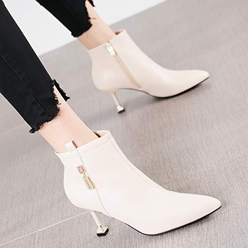 HRCxue Pumps Mode Spitze Stiletto Heels seitlichen seitlichen seitlichen Reißverschluss Stiefelies weibliche Pendler beige dünne und nackte Stiefel 4d9713