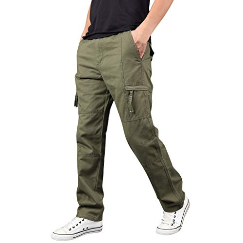 LUCAMORE Men's Casual Solid Outdoor Pants Straight Leg Sports Multi-Pockets Cargo Pants Green