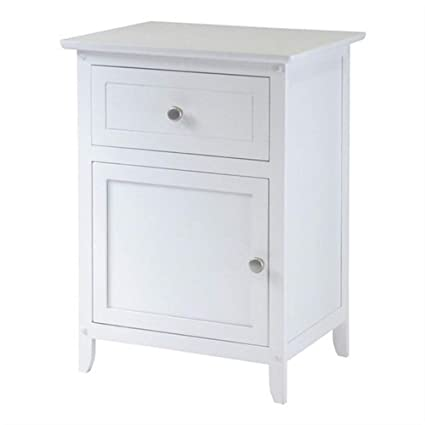 best sneakers ad682 f36fc Amazon.com: White 1-Drawer Bedroom Bedside Table Cabinet ...
