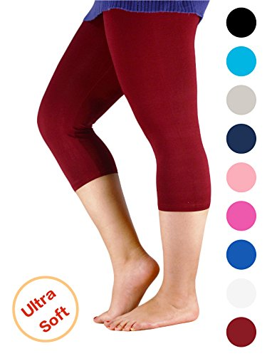 Century Star Women's Plus Size Elastic Waist Cotton Basic Solid Capri Leggings Wine Red US L-US XL(Tag 4XL)