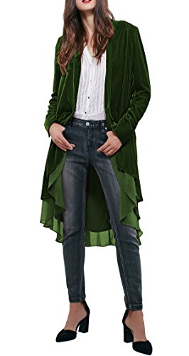 Fall Blazer Jacket (R.Vivimos Women Ruffled Asymmetric Long Velvet Blazers Coat Casual Jackets (Small, Green))
