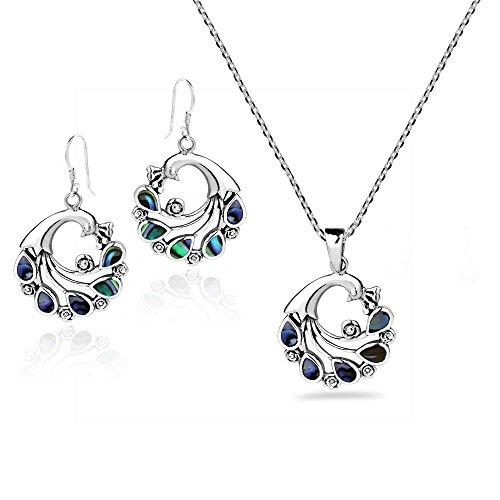 AeraVida Spirit of Grace Peacock Abalone Shell .925 Sterling Silver Necklace Earrings Set -