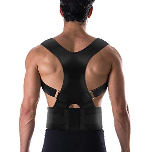 MEDCorrect Back Brace Posture Corrector for Women & Men   Fully Adjustable Posture Brace   Back Straightener Posture Corrector Relieves Upper Back & Shoulder Pain (Black, S (24 - 30 Waist))