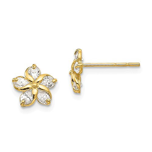 14k Yellow Gold Cubic Zirconia Cz Flower Post Stud Earrings Gardening Fine Jewelry Gifts For Women For Her