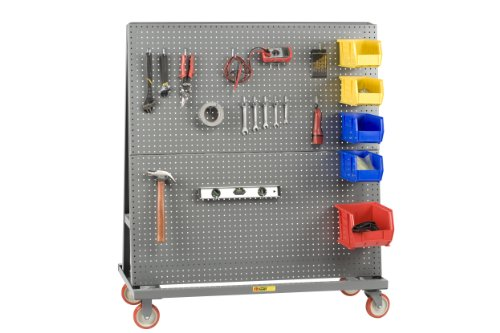 Little Giant AFPB-2448-5PY Heavy-Duty Mobile Pegboard A Frame-Lean Bulk Handling Tool Cart with 5