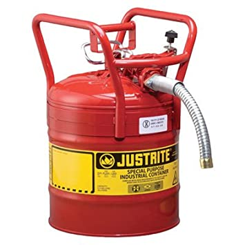 Safety Gas Can >> Justrite Type Ii Dot Approved Fuel Safety Can 5 Gallon 1in Hose Model 7350130